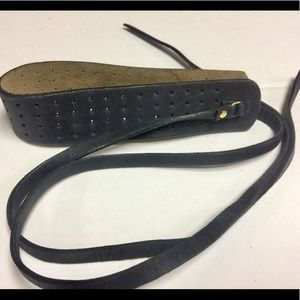 Anthropologie black perforated leather wrap belt